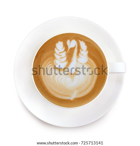 Top view latte art coffee on white background #725713141