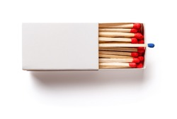 top view matchbox with one blue matchstick other in red on white with clipping path
