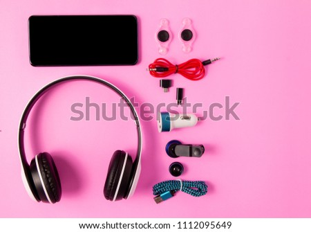 top view mobile device with mobile blank space for text,