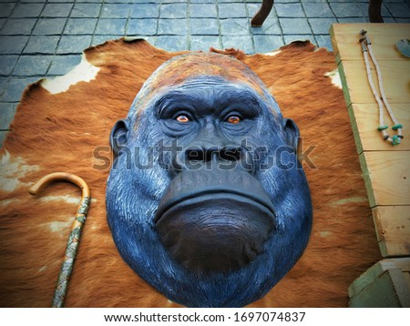 Top View Monkey Head, Monkey Sculpture With Wooden, Animal Handmade Sculpture, Monkey Head, Monkey Face, Animal Head,