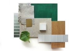 Top view moodboard. Material samples. Green, stone, wood.
