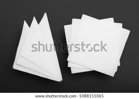 Top view napkin mockup, paper tissue. Top view.