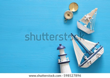top view nautical concept with sea life style objects.