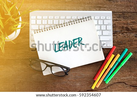 Top view notebook with keyboard concept writing LEADER #592354607