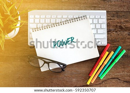 Top view notebook with keyboard concept writing POWER #592350707
