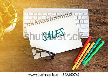 Top view notebook with keyboard concept writing SALES #592350767