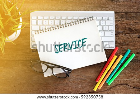 Top view notebook with keyboard concept writing SERVICE #592350758