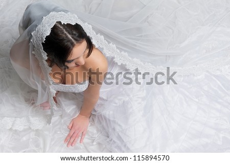 Top view of a beautiful bride with white wedding dress and veil