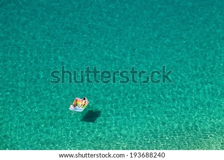 Top view of a beautiful turquoise sea .Calabria - Italy .