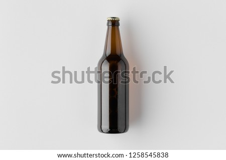 Top view of a beer bottle mockup. #1258545838