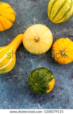 Top view of a bunch of decorative green and yellow squashes on blue background