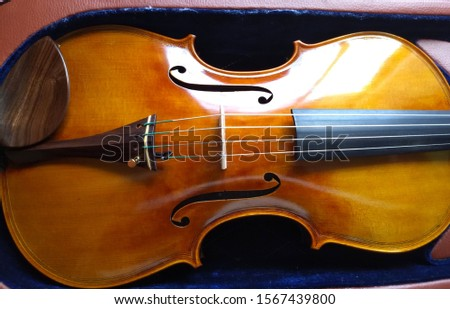 Top view of a classic and beautiful bow viola