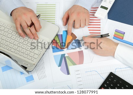 top view of a common office scene - stock photo