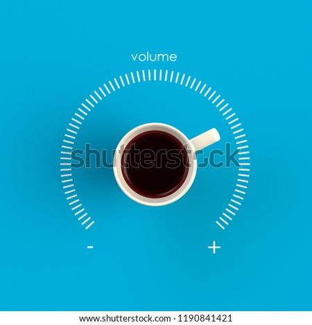 Top view of a cup of coffee in the form of volume control isolated on blue background, Coffee concept illustration, 3d rendering