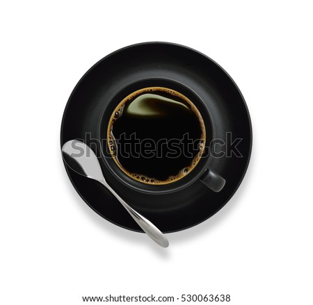 Top view of a cup of coffee, isolate on white #530063638