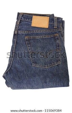 Top view of a folded jeans
