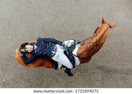 Top view of a girl lies on a horse. Dressage equestrian contest Сток-фото ©