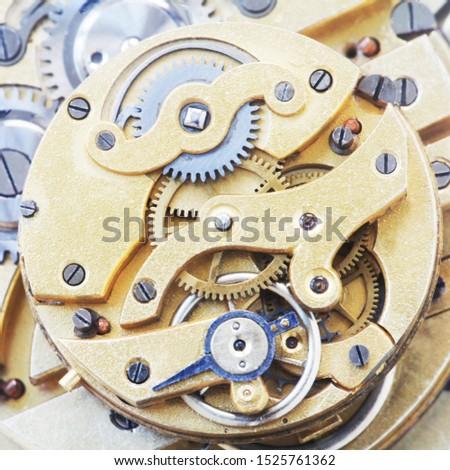 Top View Of A Mechanical Clockwork
