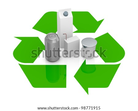 top view of a recycling symbol with several packages made with recycling materials at the center (3d render)