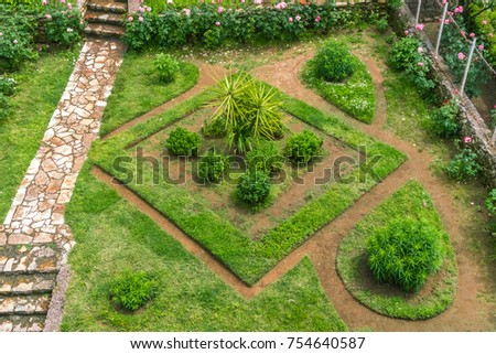 Top view of a rhombus flower bed #754640587