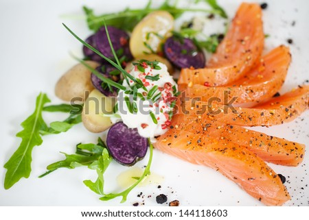 top view of a salmon dish at fish restaurant