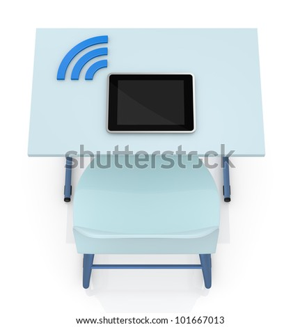 top view of a school desk with a tablet and the wireless symbol (3d render)