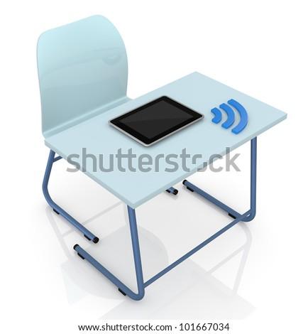 School Desk Top View Top view of a school desk with