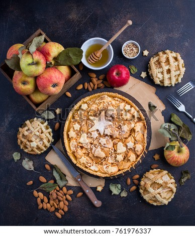 Top view of a tasty homemade apple pie with some ingredients around it #761976337