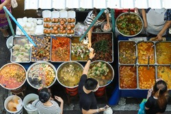 Top view of a Thai street food ,The market in Thailand is full of food. And will sell on the street.Food Street Market in Bangkok offers delicious food. Buy multiple items