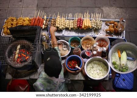 Top view of a Thai street food vendor in Bangkok, Thailand