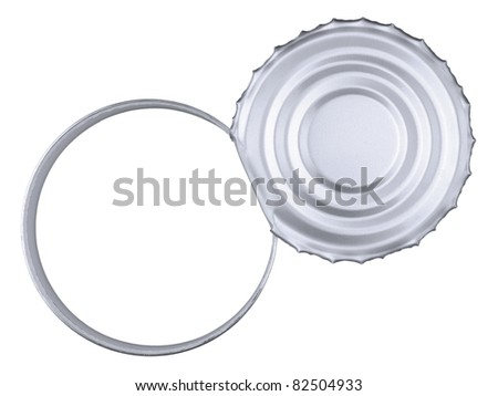 Top view of a tin can over a white background. Copy space.