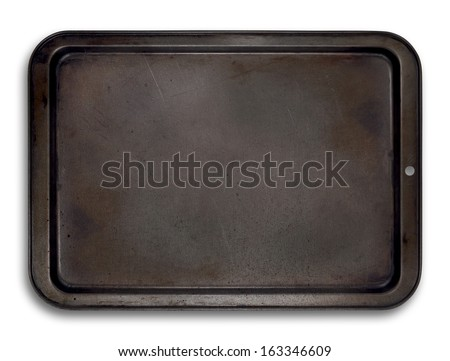 Top view of a used baking tray isolated on white for use in layouts and illustrations Foto d'archivio ©