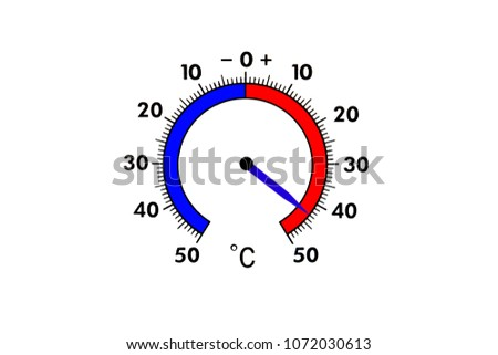 Top view of a white thermometer. Air temperature plus 43 degrees.