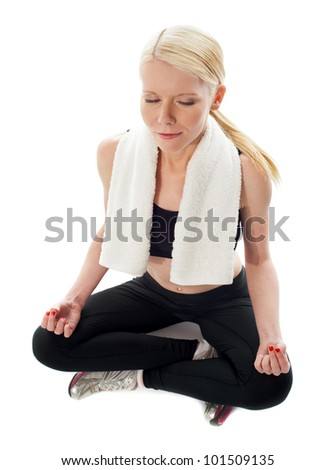 Top View of a woman meditating on isolated white