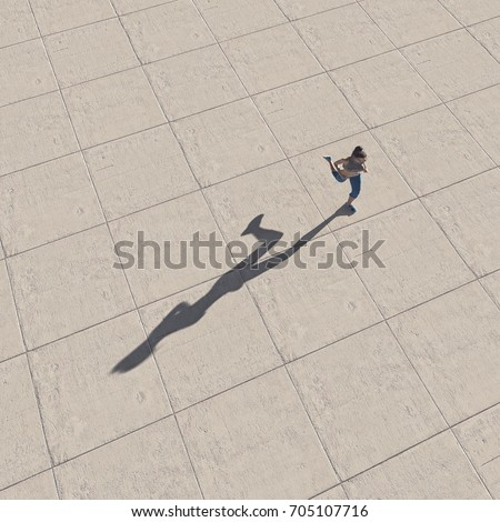Top view of a woman running. This is a 3d render illustration. #705107716