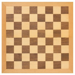 Top view of a wooden chessboard isolated on a white background.