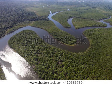 Top View of Amazon rainforest, Brazil