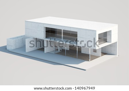Top view of an architectural mock-up of a modern residential building made of paper. Illustrates house design, process of building a house.