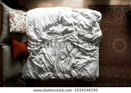 Top view of an empty bed