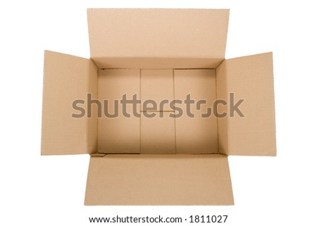 top view of an empty cardboard box isolated on white background