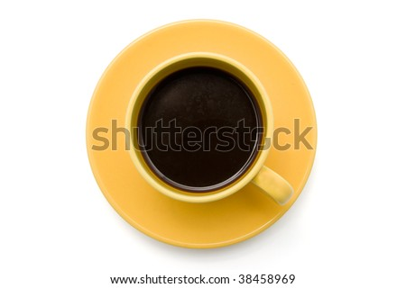 Top view of an isolated cup of coffee