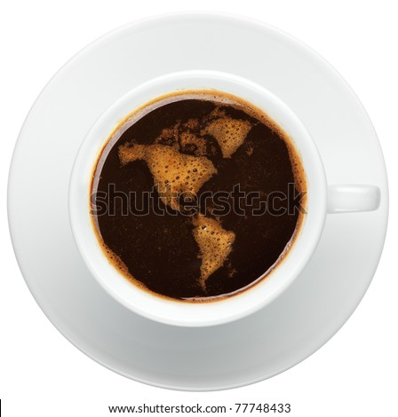 Top view of an isolated cup of coffee with worldmap made of bubbles