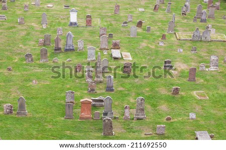 Top view of an old Scottish graveyard