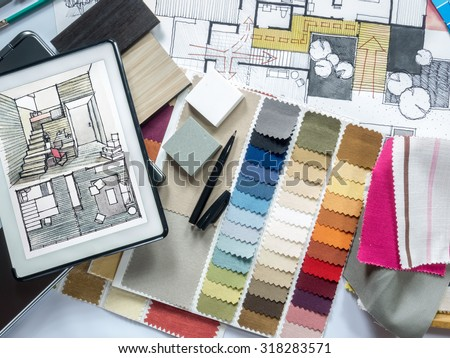Top view of Architect & Interior designer working table with equipment and material sample/ home renovation concept #318283571
