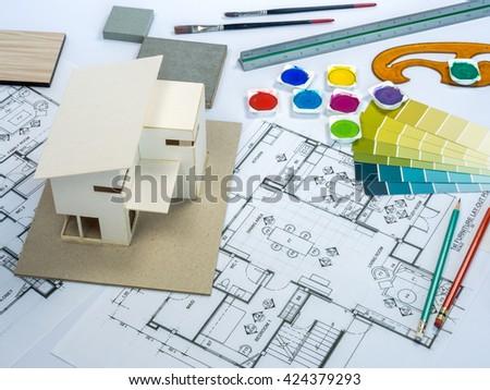 Royalty Free Architect Interior Designer Worktable 424379278 Stock Photo