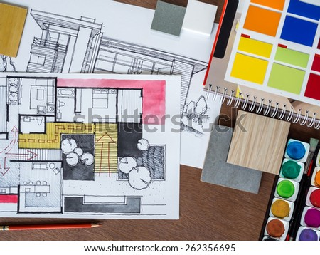 Top view of architecture hand-drawn sketch, material on modern creative workspace - Shutterstock ID 262356695