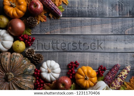 Top view of  Autumn maple leaves with Pumpkin, apple, corn and red berries on old wooden background. Thanksgiving day concept. #1231170406