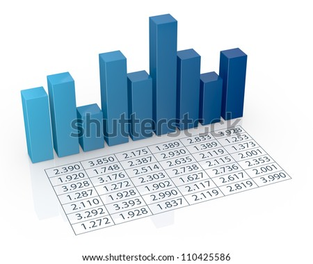 top view of bar chart with spreadsheet (3d render)