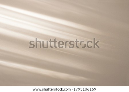 Top view of beige light bokeh shadow on sand color background. Flat lay with shadow on the wall. Minimal summer concept. Creative copyspace for overlay on product presentation, backdrop and mockup.