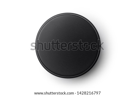 Top view of black aluminum jar isolated on white background. Container for cosmetic or food. Stockfoto ©